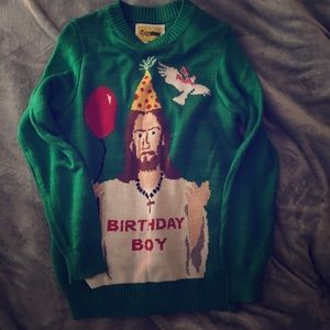 "Sweaters - Tipsy Elves ""Birthday Boy"" ugly Christmas sweater"